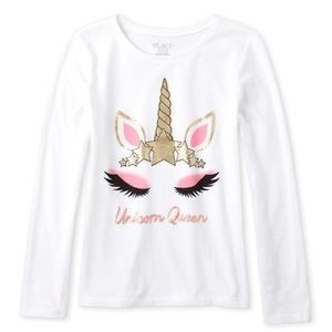 Girls Unicorn Queen Graphic Long Sleeve Tee